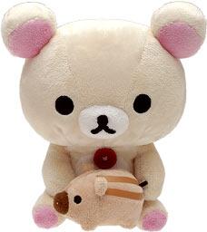 リラックマの背負った門松には「2007」の刺繍入り!2007年の干支いのししの子供「うりぼう」を抱っこしたコリラックマです。両方ともあつめてぬいぐるみと同